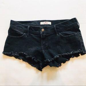 Hollister Destroyed Hem Cutoff Black Jean Shorts
